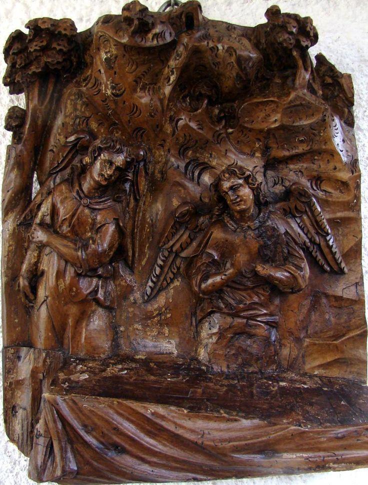Retable Au Deux Anges, En Bois Sculpté, Ecole Française 18 ème
