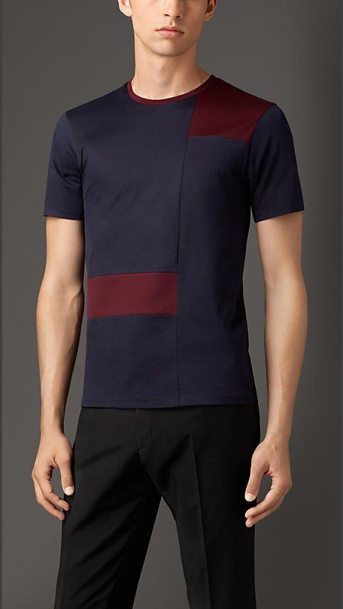 Azul marino/rojo caoba Camiseta de checks abstractos en algodón - Imagen 1