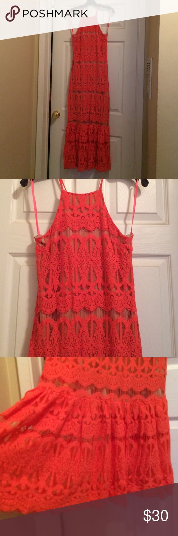 Coral lace dress Coral lace dress/ floor length/ zipper on the back/ two layers/ size small/ worn once Dresses Maxi