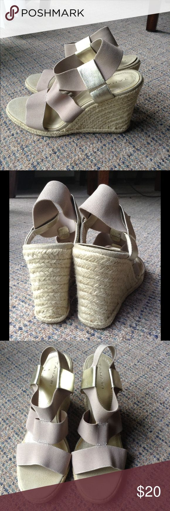 Tahari nude and gold espadrilles Worn once. In excellent condition. Like new. No flaws. Very comfortable Tahari Shoes Espadrilles