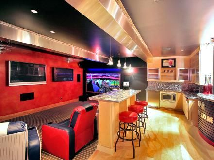 Every home needs a masculine retreat the man of the house can call his own. These basement home theaters are the ultimate man caves, complete with billiard tables, high-end equipment, sports memorabilia and fully stocked bars.