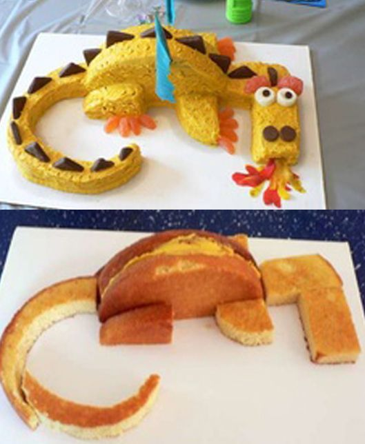 :Would use healthier option over dye candy, like sundrops: How to set up a dragon cake-looks fairly simple...