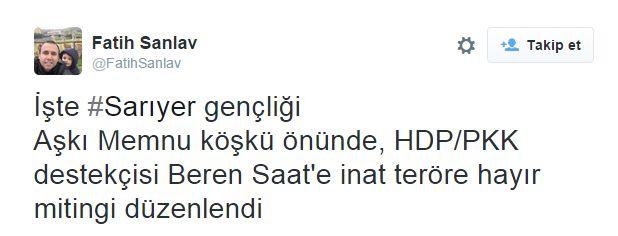 """GÜNCELLEME 23.54  Bir grup faşist, Sarıyer'de bir dönem televizyon dizisi Aşk-ı Memnu'nun geçtiği köşkün önünde eylem düzenledi. Sosyal medya hesaplarında eylem, oyuncu """"Beren Saat'e inat teröre hayır mitingi"""" şeklinde duyuruldu. Köşkün önünde toplanan grup, tekbir getirdikleri bir eylem yaptı.  http://haber.sol.org.tr/turkiye/duzenin-turkiyeye-vaadi-ulke-yangin-yeri-her-yerde-saldirilar-var-guncelleniyor-129099"""