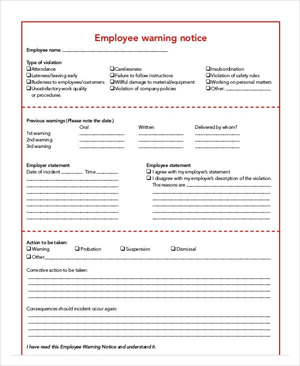 Employee Warning Notice Templates Letter Template Word Word