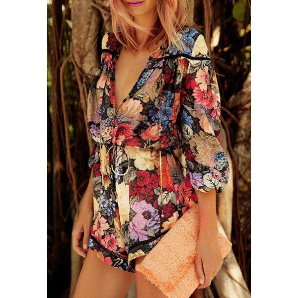 $13.50 Sexy Plunging Neck 3/4 Sleeve Floral Print Chiffon Women's Romper