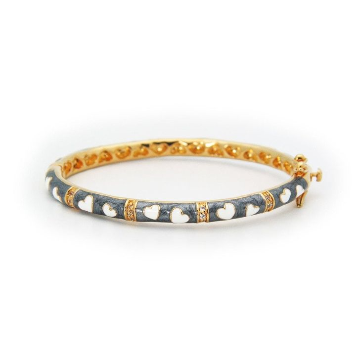 18kt Gold Plated Enamel Bangle | Grey Flower Charm Bracelets for girlsÌ_- Fronay Collection