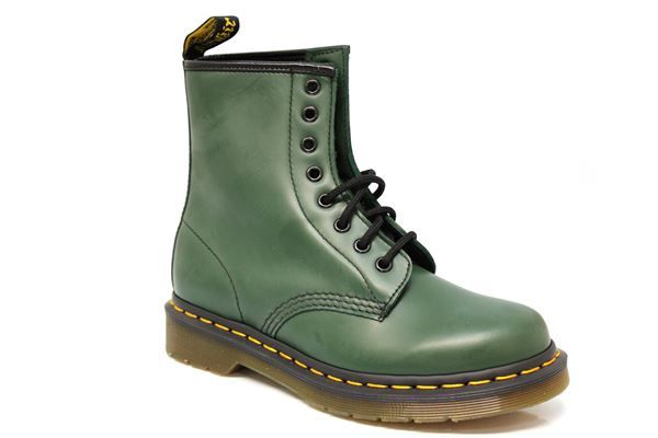 GREEN DR MARTENS Yellow Stitch Eyelet Boots Dr Martens Boots online