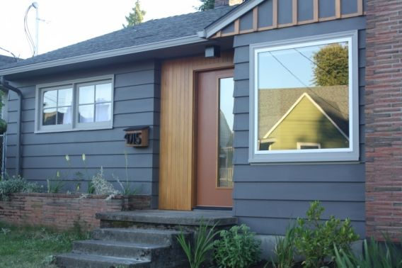 Good contrast of warm/cool, painted/stained, vertical/horizontal, modern/traditional.  A complex small impact.