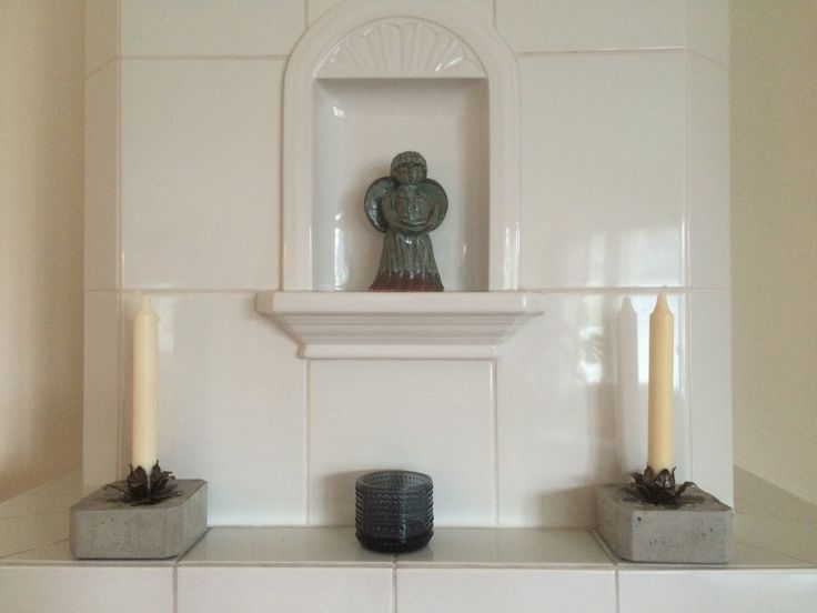 #Concrete candle holders with a #ceramic angel
