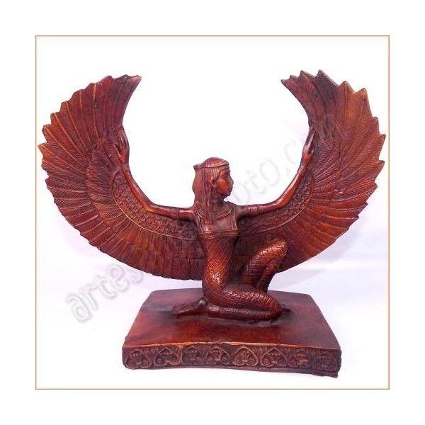 """Figura de artesanía egipcia de la diosa Isis, esposa de Osiris y madre de Horus. Fue llamada en el Egipto Antiguo """"gran diosa madre, fuerza fecundadora de la naturaleza"""". La base y el busto están tallados en resina sólida, mezclada con piedra. Realizada artesanalmente y cuidadosamente detallada por los artesanos egipcios. Medidas: base: 15cm X 9cm. Altura 22cm. www.artesaniaegipto.com"""