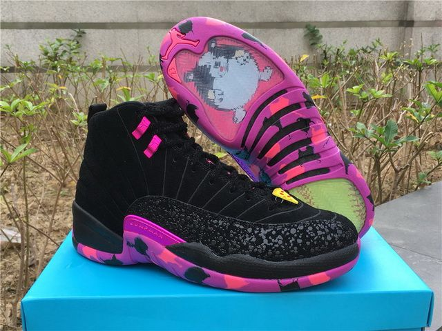 Low Price Air Jordan 12 Retro DB Doernbecher Black Hyper Violet-Pink Blast AH6987  023 On sale 6d23de30b