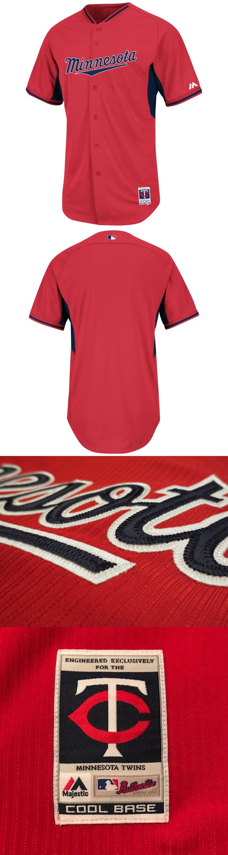 Baseball Shirts and Jerseys 181336: New Men Majestic Minnesota Twins Authentic Baseball Jersey Mlb Red Mrsp $126 -> BUY IT NOW ONLY: $44.99 on eBay!