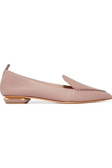 Nicholas Kirkwood - Beya Textured-leather Point-toe Flats - Pastel pink - IT40.5
