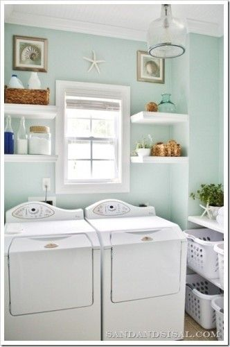 sherwin williams rainwashed laundry room--- RAINWASHED. want this color for camper interior. remember it.