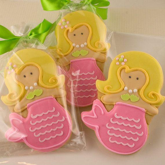 Mermaid Sugar Cookies 1 Dozen Decorated Cookies by TSCookies