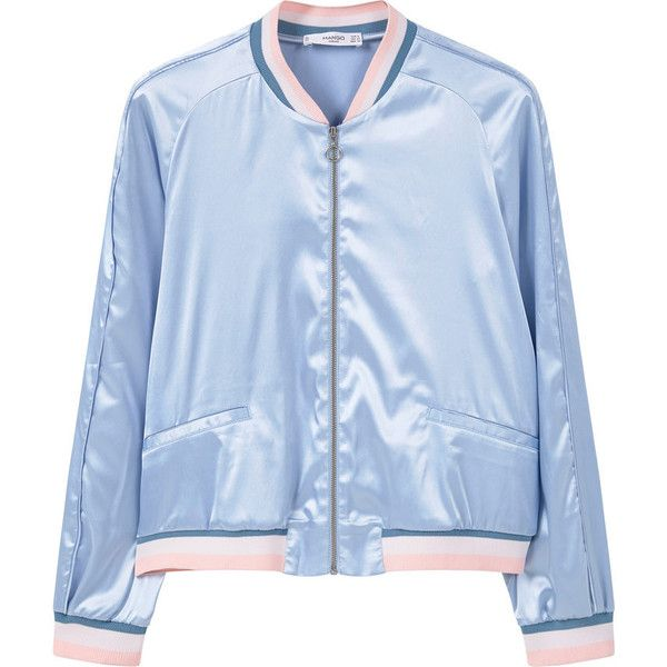 Satin Bomber Jacket (679.400 IDR) ❤ liked on Polyvore featuring outerwear, jackets, blue zipper jacket, zipper jacket, embellished jacket, zip pocket jacket and bomber jacket