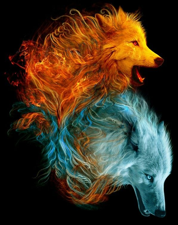 Fire and Ice--this is so similar to a painting I did with two horse heads