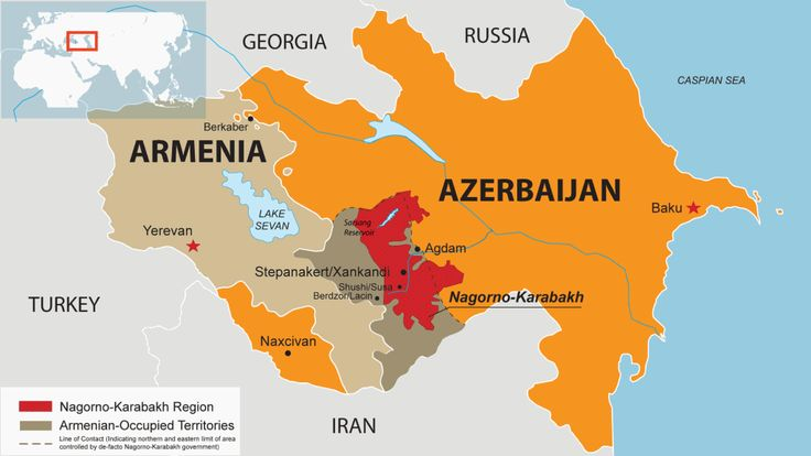 Naxcivan, an exclave of Azerbaijan in Armenia, and the Nagorno-Karabakh, a de facto Armenian exclave in Azerbaijan