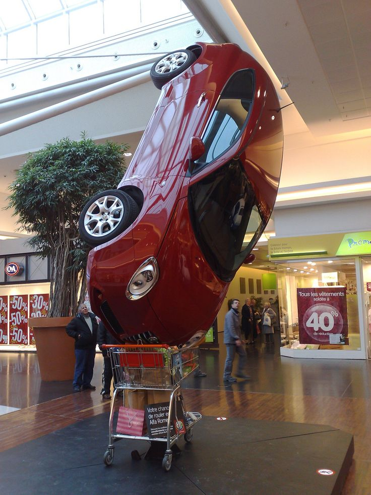 Funny Advertisement for a Car - Belgium Brussels - Woluwé Shopping Center - Spectacular and Funny Advertisement Display for a Car Company