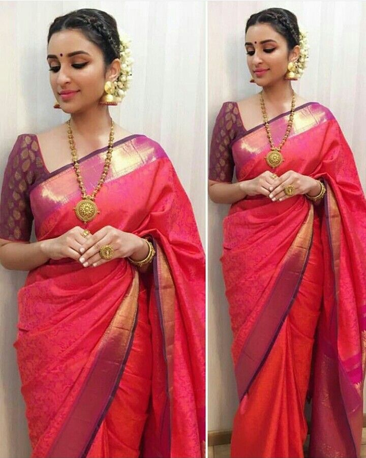 Wow pari in traditional sari and temple jwellery                                                                                                                                                                                 More