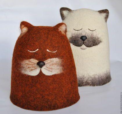 Купить или заказать СПАкойные коты. Колпак плотный шерстяной. в интернет-магазине на Ярмарке Мастеров. Очень плотный войлочный колпак для бани или грелка на чайник... Сиамский котик вполне подойдет для френч-пресса 1 литр или крупной головы 60-62 размера :) Рыжий - котёнок :) Сваляны из 100% овечьей шерсти. Носики слеплены вручную из полимерной глины фимо и не боятся воды и пара. Войлок прекрасно держит температуру и форму. Все грелки на чайник в моём магазине…