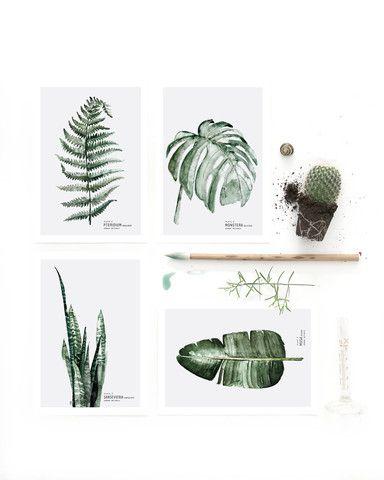 4 x Postcard Urban Botanic | My Deer Art Shop