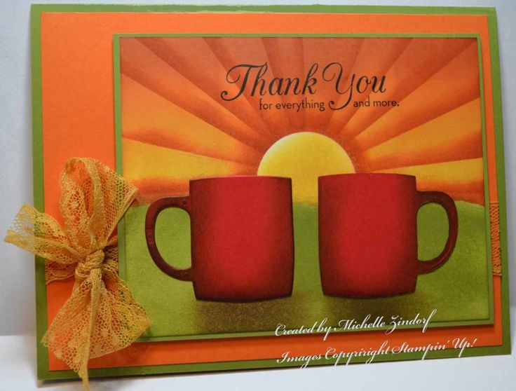 Cups of Coffee Card created by Michelle Zindorf using Stampin' Up! Products - Cups & Kettle Framelits