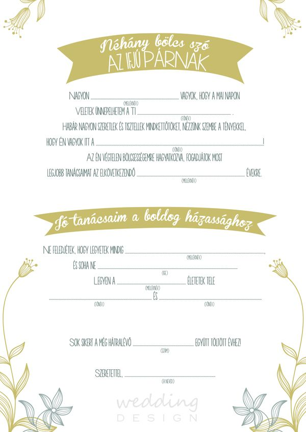 Wedding guest cards - Kitöltős emléklapok Graphic/Grafika: Wedding Design