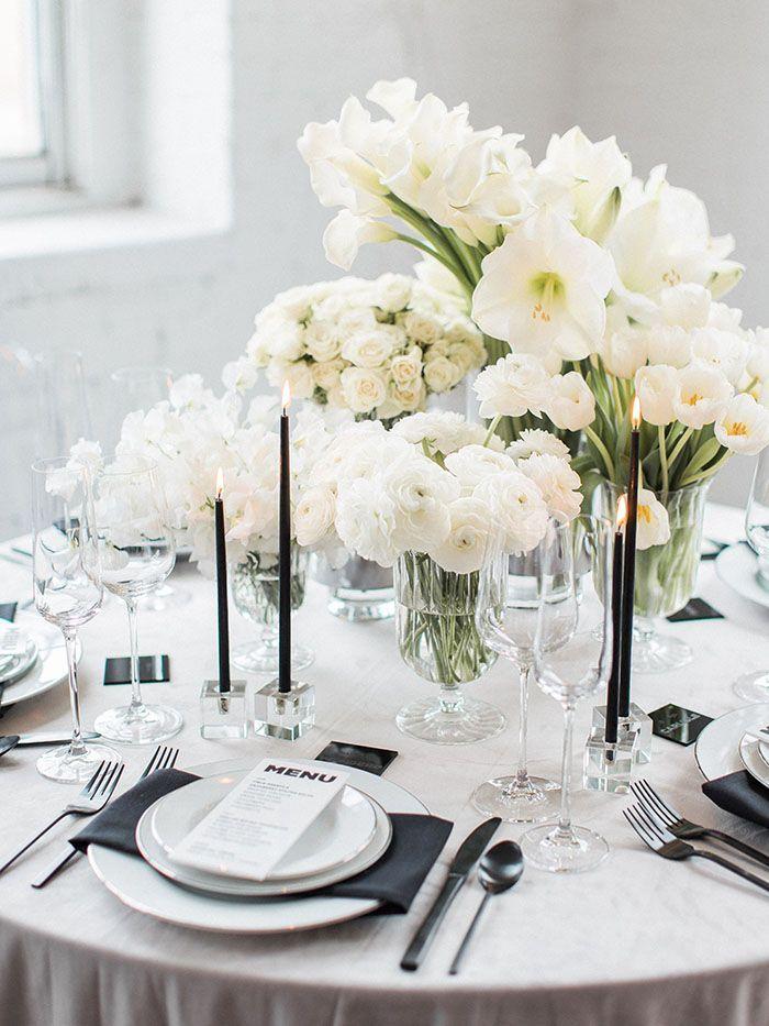 White Wedding Flowers with Minimalist Black Decor