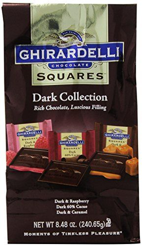 Ghirardelli Chocolate Squares, Dark Collection Assortment, 8.48 oz., (Pack of 3) Ghirardelli Squares chocolates deliver the perfect balance of intense, slow-melting Ghirardelli chocolate and luscious fillings These individually wrapped chocolates are perfect as an individual indulgence, to share with friends and family, or to give as a gift We hand-select the world's finest cocoa beans to create our proprietary bean blend and roast them to perfection then we slow-blend in the purest…