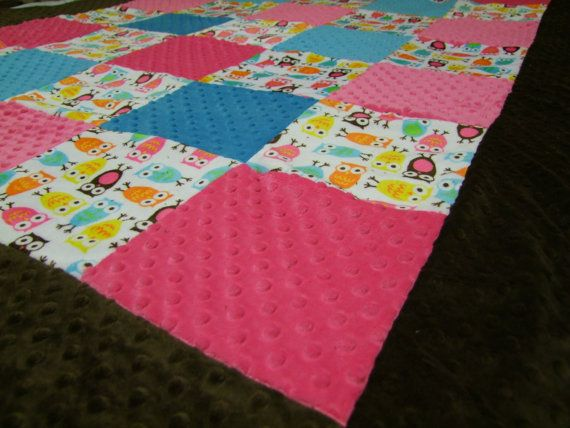 Minky Owl Blanket Twin Size Ships in 13 Business by taramcwilliams, $125.00