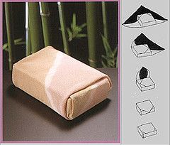 Furoshiki This site has a good picture of a furoshiki with a built-in large button hole style handle
