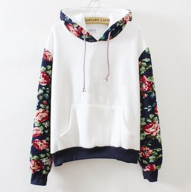 Cute flower sleeve hooded fleece pullover