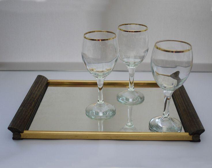 Plateau Miroir Art Déco . Mid Century French Mirror tray .  Antique Plateau de courtoisie de la boutique LaMachineaBrocantes sur Etsy
