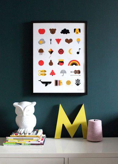 A to Z Alphabet Print: Wall Colors, Idea, Nursery Decor, Buntings, Modern Nurseries, Alphabet Posters, Baby, Indigo Bunting, Kids Rooms