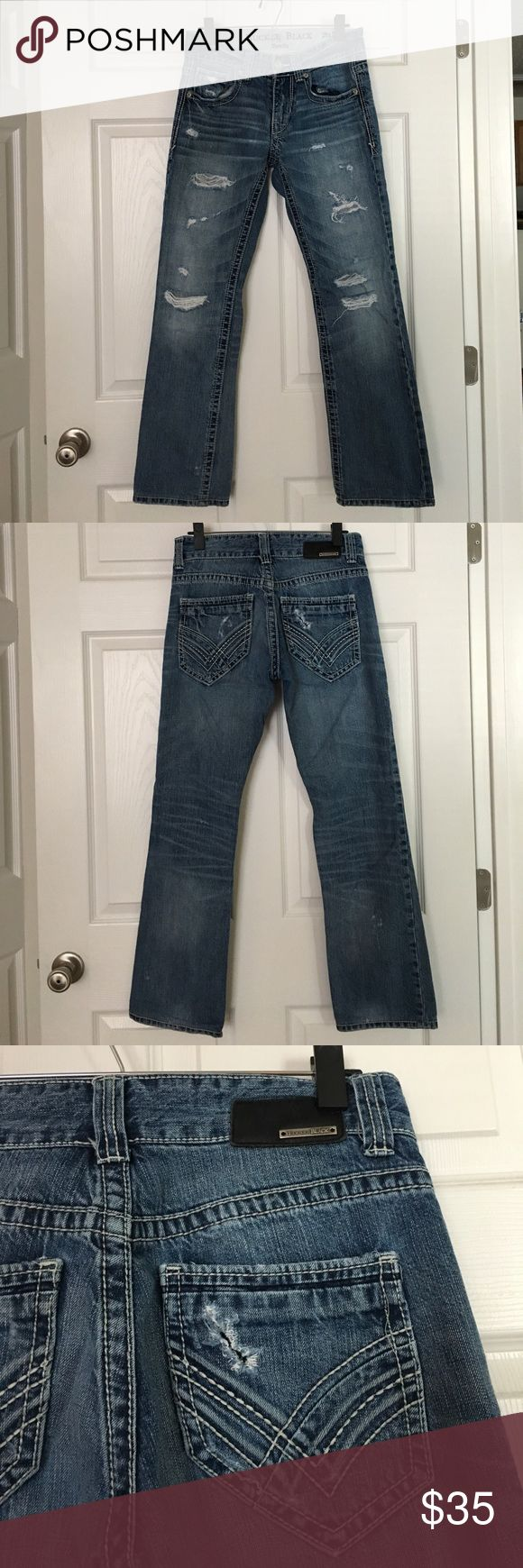 """Buckle MENs jeans Buckle Black from Buckle MENs destroyed jeans. ThreeFit. Waist: 29R (inseam: 30"""") Buckle Jeans Bootcut"""