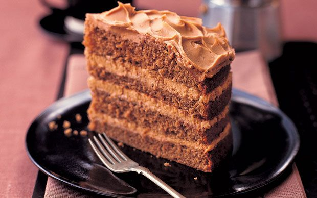 This is a really deep luxurious coffee cake – very impressive and delicious.