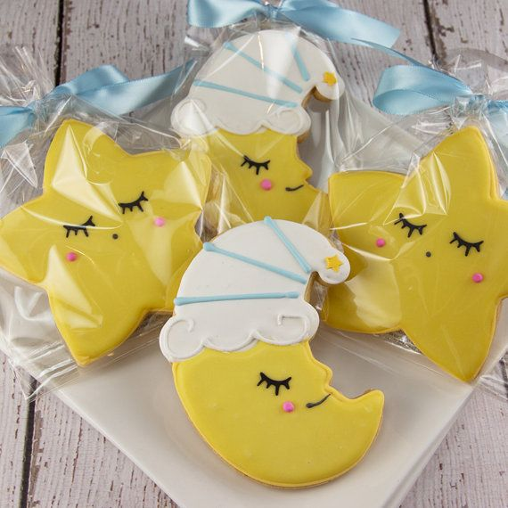 Star & Moon Cookies Baby Cookies 12 Decorated Sugar by TSCookies More