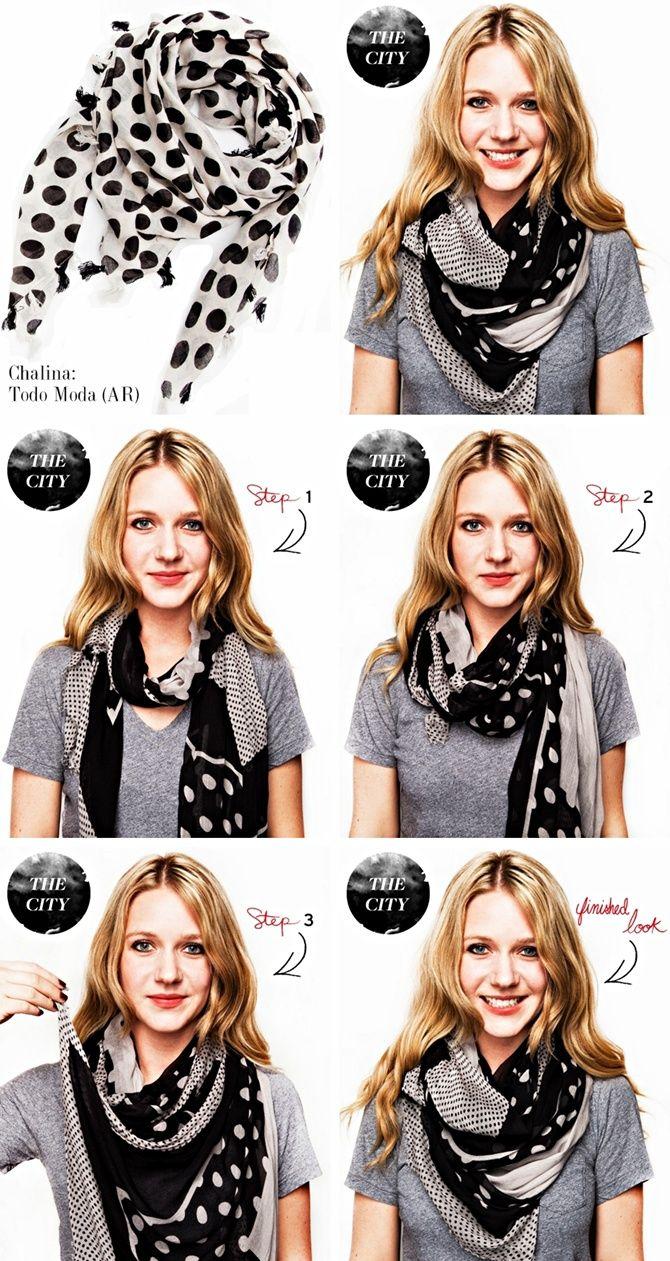 Mirame & Vestite: Cómo usar: chalinas y bufandas - love new ways to tie a scarf.