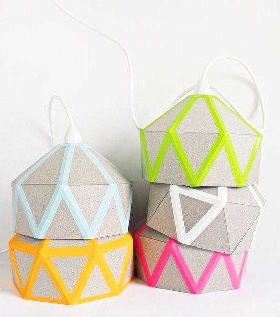 diy origami lamp met masking tape