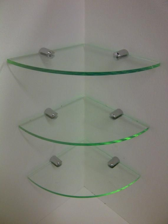 Glass Acrylic Corner Shelf With Chrome Fittings Modern Glass Shelves Decor Glass Shelf Brackets Floating Glass Shelves