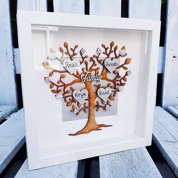 Feel proud of your whole family by beautifully displaying your family tree. Its fully personalised and HandPainted with laser cut mdf tree & hearts. Handwritten names & flower embellishments. You can choose whatever colour to go with your living area.  XMAS INTERNATIONAL ORDERS CUT