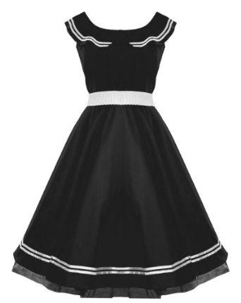 Amazon.com: 50's Sailor Collar Nautical Dress Black: Clothing