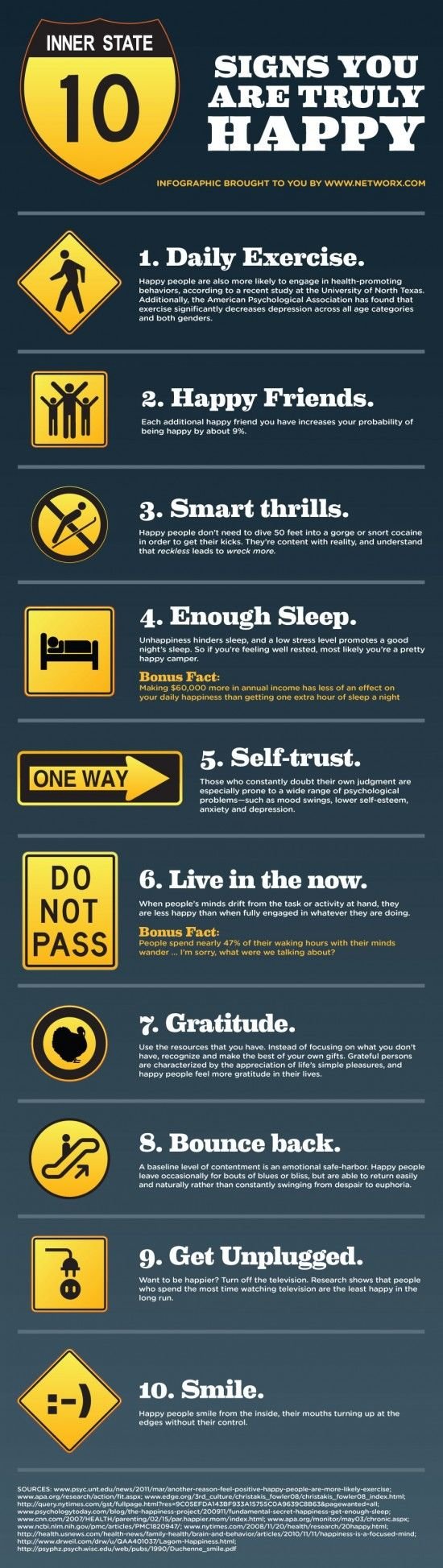 10 Signs of True Happiness Infographic! Love this! #happiness #infographic