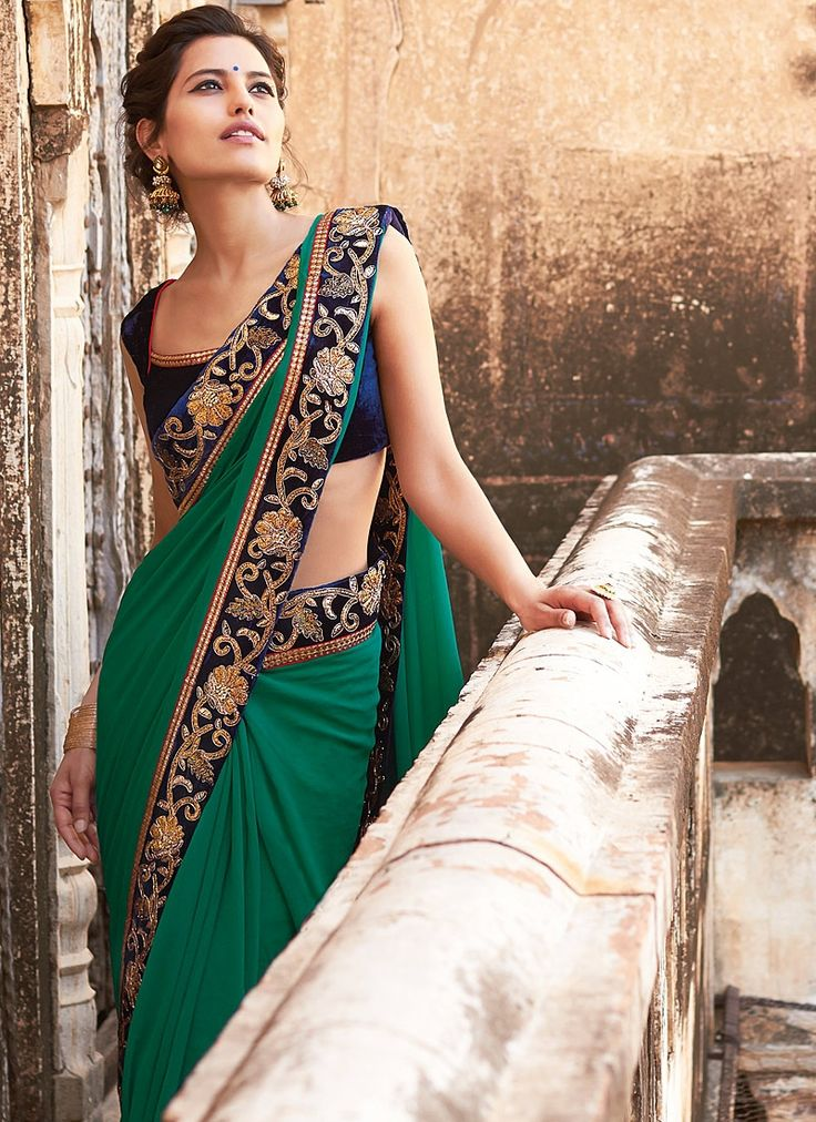 Green #Saree With Blue #Blouse.