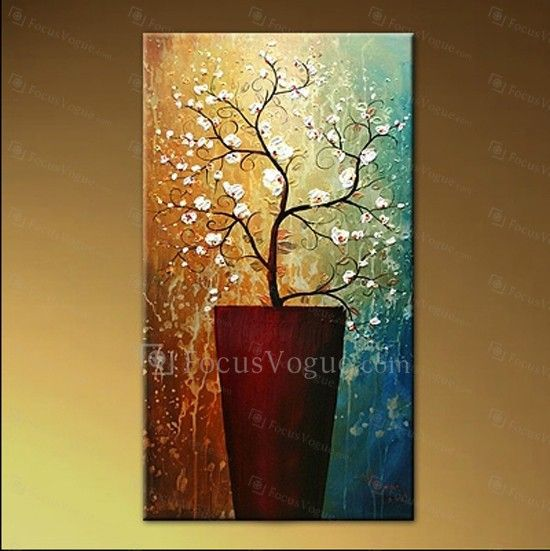 """Hand-painted Flower Oil Painting with Stretched Frame-14"""" x 28"""" - Focus Vogue"""