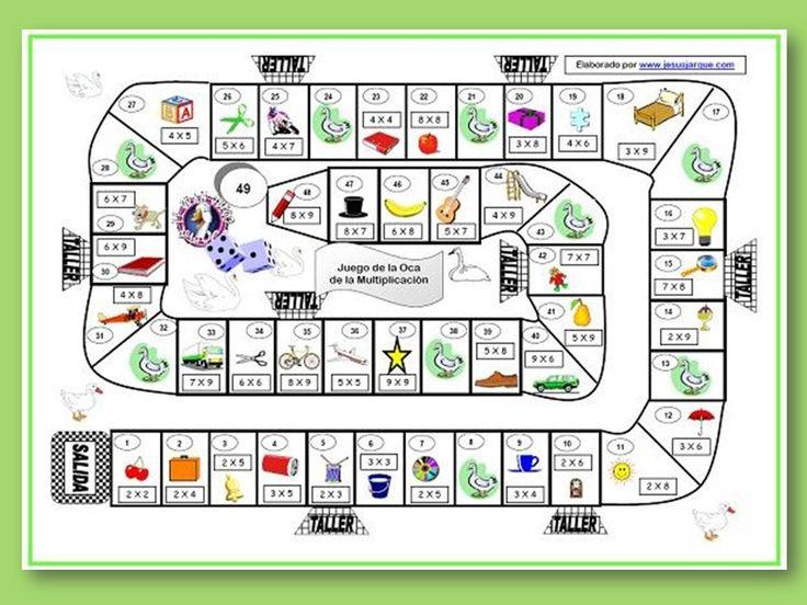 Juego de la oca para aprender la tabla de multiplicar de una manera lúdica y más entretenida. Se puede imprimir y entregar al alumnado para repasar en casa
