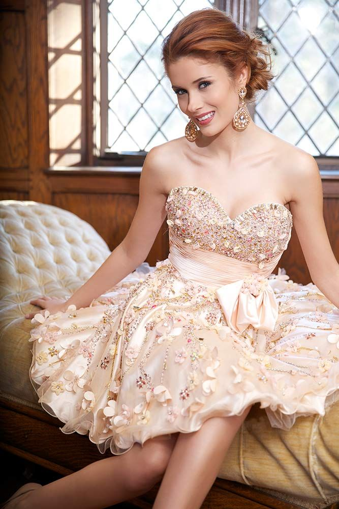 Stunning strapless short peach prom dress 2014 by Jovani with satin bow