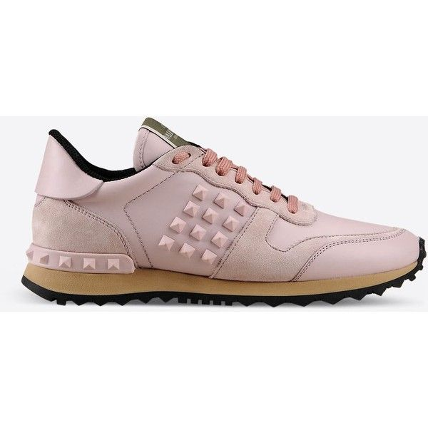 Valentino Garavani Rockrunner Sneaker ($795) ❤ liked on Polyvore featuring shoes, sneakers, light pink, studded sneakers, rubber sole shoes, studded shoes, round toe sneakers and valentino trainers