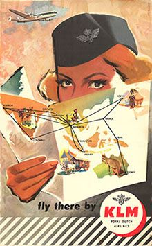 The Far East - fly there by KLM Vintage Travel Poster